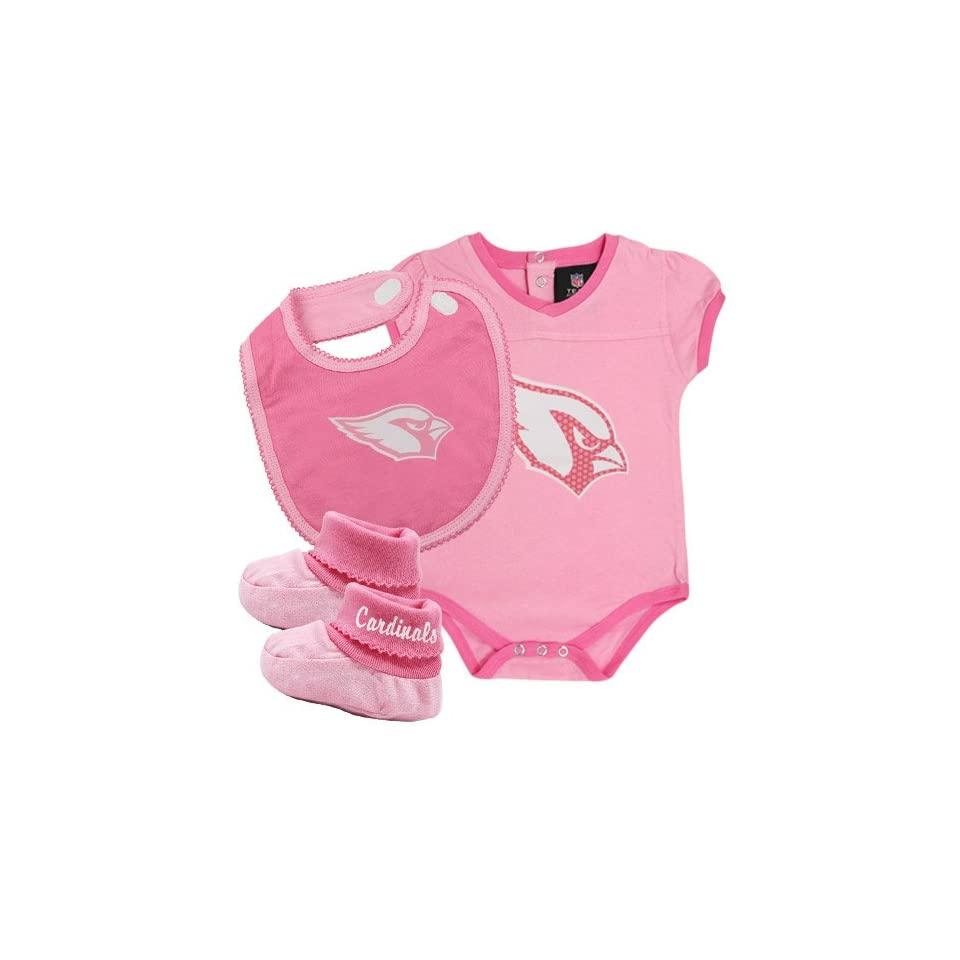 NFL Arizona Cardinals Infant Girls 3 Piece Creeper, Bib & Booties Set   Pink (3 6 Months)  Infant And Toddler Sports Fan Apparel  Clothing