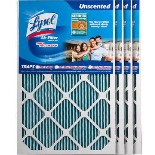 Lysol 10001-204-0010 Air Filter Triple Protection, 16-Inch x 25-Inch x 1-Inch, 4-Pack by Lysol