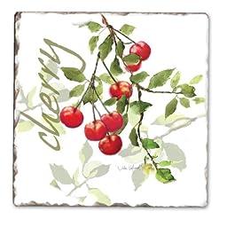 CounterArt Julie\'s Cherries Tumbled Tile Coasters, Set of 4