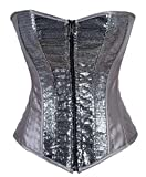 Jusian Women's Boned Corset Bustier with G-string Silver Size XL