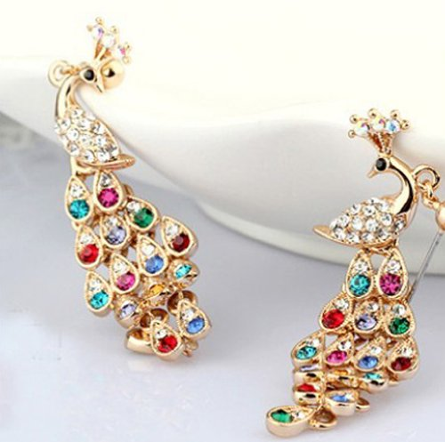 Rolicia Austrian Crystal Made with Swarovski Elements Earrings For Temperament woman diamond crystal color with the peacock