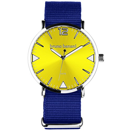Bruno Banani BR30060Cool Color Watch Unisex Analogue Air Band Metal 50m blue/yellow