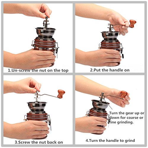 3E Home Manual Canister Ceramic Burr Coffee Mill Grinder, Stainless Steel Top and Ceramic Body