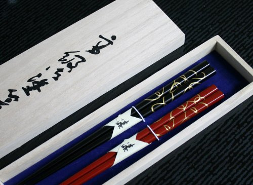 (Chopsticks, wooden, Wakasa, couple chopsticks, two Zen) 001-160...