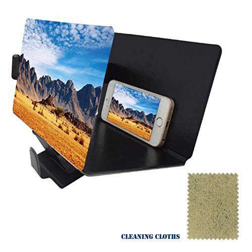 Mobile Phone Screen Magnifier 3D HD Movie Video Amplifier - Phone Projector for Any Smartphone iPhone 6 6s Plus, Samsung Galaxy Note5 4 3 S6 Edge All Smart Phones (Black) (Mobile Projector For Samsung compare prices)