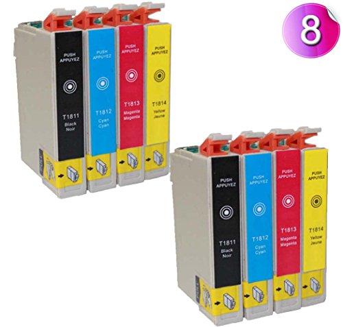 8x Tintenpatronen T1816 Kompatibel für Epson T1811 - T1814 - mit CHIP - druckerpatronen für Expression Home XP-102 XP-202 XP-205 XP-30 XP-302 XP-305 XP-402 XP-405 XP405WH XP-212 XP-215 XP-312 XP-315 XP-412 XP-415 Drucker Patronen (2x T1811 2x T1812 2x T1813 2x T18142)