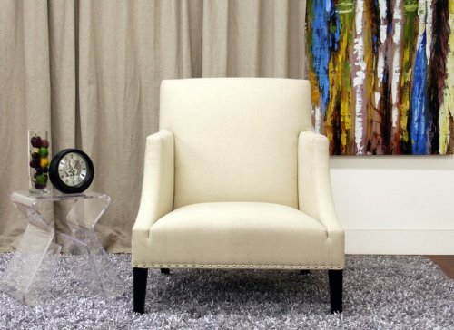 heddery cream fabric modern club chair