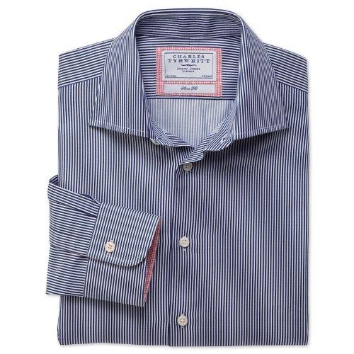 Charles Tyrwhitt Navy Bengal stripe business casual slim fit shirt (15.5 - 35)