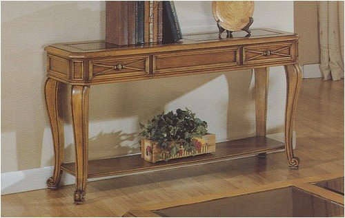 Image of Early 20th Century Style Console Sofa Table in Aged Light Stained Wood Finish (VF_F6130)