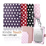 """eLifeStore� Stylish Polka Dot Kindle Touch / Kindle Paperwhite PREMIUM Leather Case Flip Cover Wallet with Magnetic Closure + Clip-On Bright White LED Reading Light for New 2012 Amazon Kindle Touch / Kindle Paperwhite Wi-Fi 3G 6"""" inch - Book Style (Pink and White Polka Dot)by SAVFY"""
