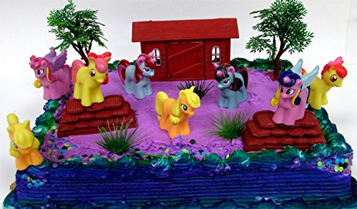 12 Piece PONY PALS Birthday Cake Topper Set Featuring Pony and Friends Characters and Decorative Themed Accessories
