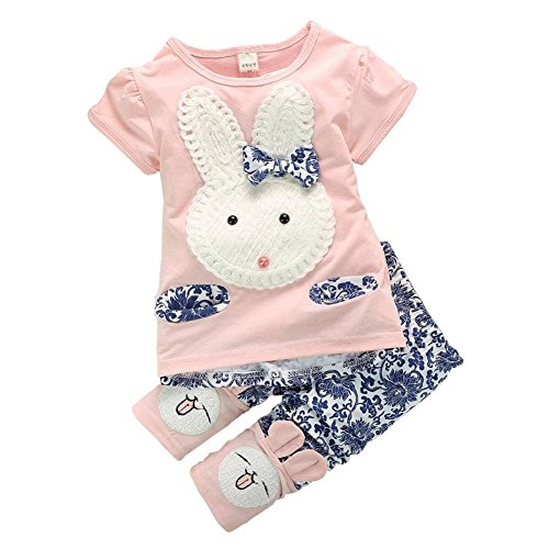 Yo Coco Baby Boys Girls Pink Cute Rabbit Top + short Pants 2pc Short Set Clothes Size 6-12 Months