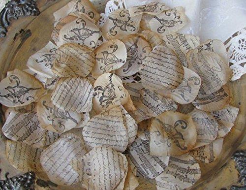 Aisle runner, Wedding Flower Petals - Flower Girl Petals, wedding rose petals- Table Scatter French Script, Bird, Music Vintage