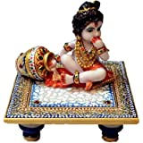 Traditional Rajasthan Marvellous Marble Laddu Gopal Idol On Chowki (Meenakari And Kundan Work) In Blue Color Puja...