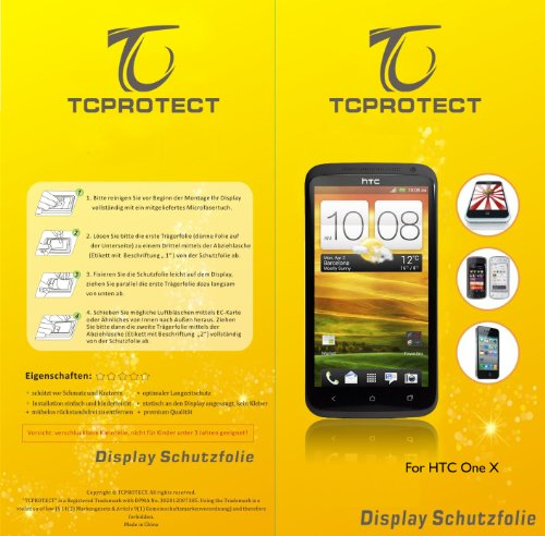 2x tcprotect htc one x Schutzfolie one x Klarsicht Crystal Clear
