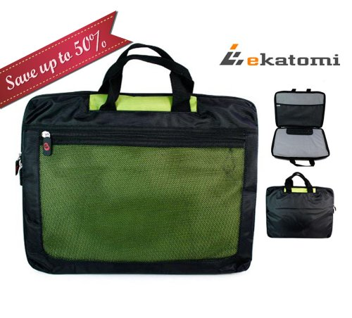 Travelling Laptop Bag Carry Case for 15.6 inch Sony VAIO VGN-NR360E Notebook - Green. Hand-out Ekatomi Screen Cleaner Sticker
