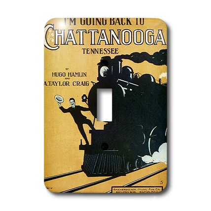 Lsp_170490_1 Bln Vintage Song Sheet Covers Reproductions - Im Going Back To Chattanooga Tennessee Man On A Steam Engine - Light Switch Covers - Single Toggle Switch