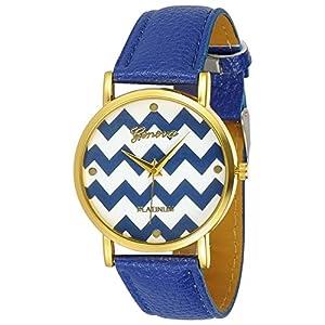 Women's Geneva Chevron Style Leather Watch from Geneva