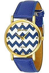 Women's Geneva Chevron Style Leather Watch