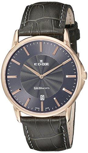 Edox-Reloj unisex Edox Les bèmonts Slimm cuarzo analógico Piel 5600137R Niro