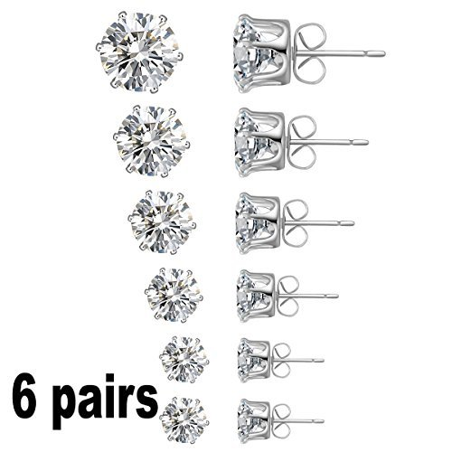 Anmao Jewelry Women's Stainless Steel Round Clear Cubic Zirconia Diamond Rhinestone Stud Earring (6 Pairs) Color Silver EAC-01