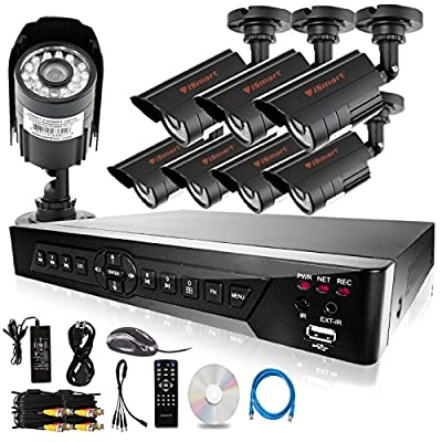 iSmart 16 Channel H.264 CCTV Security Surveillance HDMI Motion Recording DVR & 8 Outdoor Weatherproof IR Night Vision Bullet 700TVL Cameras with No HDD (D6116DH + C1030DP7x8)