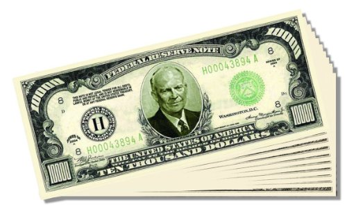 Eisenhower $10,000 Dollar Novelty Bill - 10 Count with Bonus Clear Protector & Christopher Columbus Bill