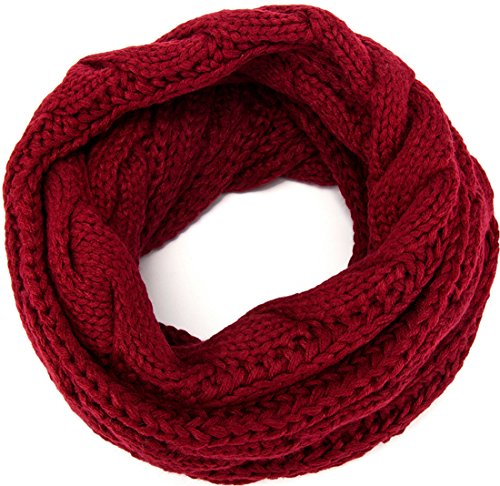 MOTINE Women's Winter Thick Ribbed Knit Warm Circle Loop Infinity Scarf (Burgundy)