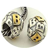 DUMAN 1pc 925 Sterling Silver Charms Alphabet letter B 18K Gold Plated Beads fit for Pandora, Biagi, Chamilia, Troll and More European Bracelets