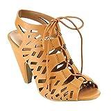 Beston CD35 Women s Peep Toe Cut Out Sling Back Mid Heel Gladiator Sandals Tan 7.5 B(M) US