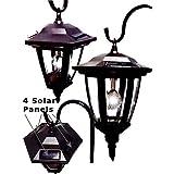 Black Vintage Shepard Hook Solar Lantern Outdoor Light