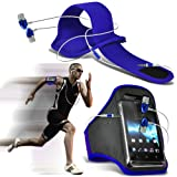 Fone-Case ( Blue + Earphone ) Lenovo Vibe Z2 Pro Case Brand New Sports Armbands Running Bike Cycling Gym Jogging Ridding Arm Band Case Cover With Premium Quality in Ear Buds Stereo Hands Free Headphones Headset with Built in Microphone Mic and On-Off But