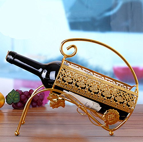 FinerMe Metal Single Bottle Countertop Wine Holder Free Standing Rack for Table Top Modern Scroll Art Statue Design Perfect for Gifts No Assembliy Required (Hutch Wine Rack compare prices)