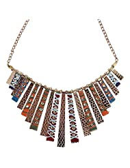 CRENZ Multi Colour Gold Plated Choker Necklace For Women - B00YX6KFGQ