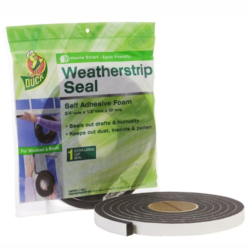 Duck Brand 284426 Self Adhesive Foam Weatherstrip Seal, Extra Large Gaps, 3/4-In x 1/2-In x 10-Ft, 1 Roll/Pack (Adhesive Weatherstrip Door compare prices)