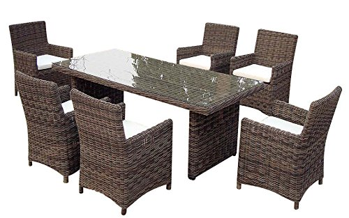 Baidani Gartenmöbel-Sets 10a00016 Designer Rattan Essgruppe Essence, 1 Tisch mit Glasplatte, 6 Stühle mit Armlehnen und Sitzauflage, graubraun meliert grau