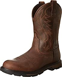 Ariat Men\'s Groundbreaker Pull-On Work Boot, Brown/Brown, 10 M US