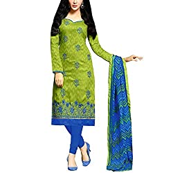 Applecreation Green Embroidered Dress Material With Matching Dupatta for Women's