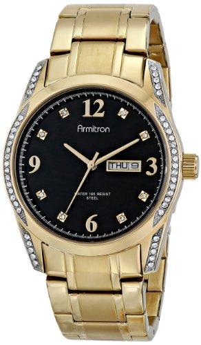 Armitron Men's 20/4943BKGP Stainless Steel Swarovski Crystal-Accented Watch