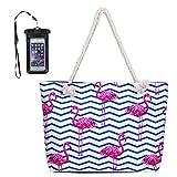 MISS FANTASY Beach Bag Large Waterproof Flamingo Pineapple Summer Tote with waterproof case (Flamingo 2)