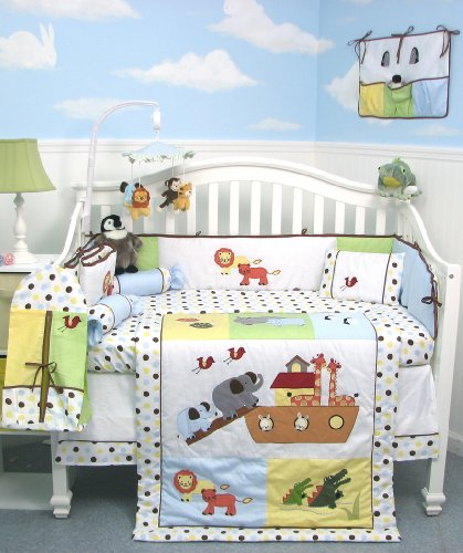SoHo Noah Ark Baby Crib Nursery Bedding Set 13 pcs included Diaper Bag with Changing Pad & Bottle Case ** Reversible Into 2 Designs ! **