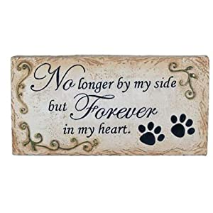 Pet Memorial Stone Paw Prints Flat Marker - No Longer By My Side but Forever in My Heart - Er28216