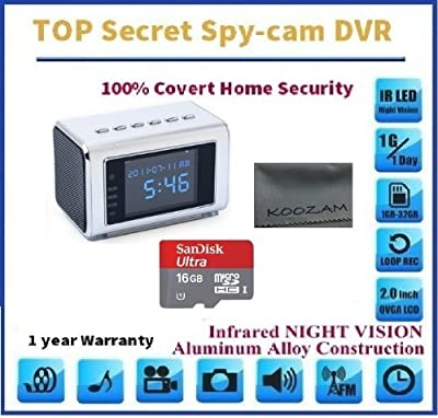 Spyman 1080P 16GB Card + Portable Alarm Clock Spy Camera DVR with Motion Detection 1280*960 Version