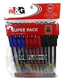 Set 12 pcs 3 Colors M&G Gel Ink Pens Writing Sketching Pen Professional Student Teacher School Stationary Creative Writing Office Tool - 0.5 mm. - Black Blue & Red