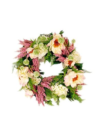 Creative Displays Inc. Peony Astilbe Spring Wreath, Crème/Pink/Green