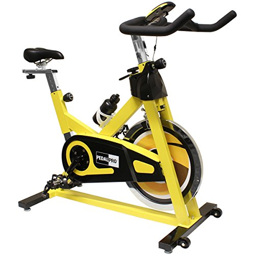 PedalPro Cardio Exercise Bike with Pulse Sensors - Yellow