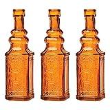 Luna Bazaar Small Vintage Bottle Set (6.5-Inch, Square Design, Orange Colored Glass, Set of 3) - Flower Bud Vase Set - For Home Decor and Wedding Centerpieces