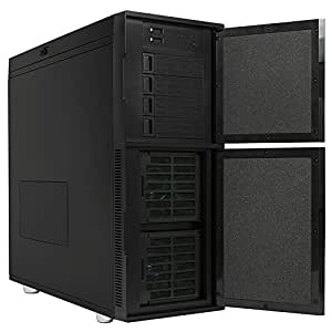 Nanoxia Deep Silence 6 Gigantic Tower Case Fits HPTX Motherboard, Large Water Cooler Ready, with 8 Fan Controllers, Air Chimney, Black