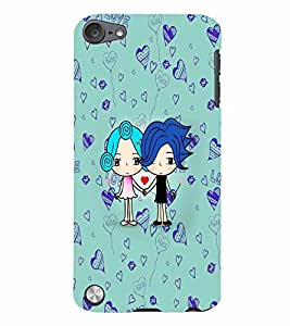 PrintVisa Cute Cartoon Couple 3D Hard Polycarbonate Designer Back Case Cover for Apple iPod Touch 5
