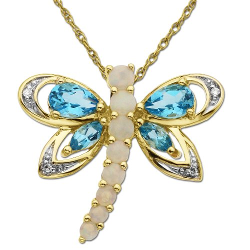 10k Yellow Gold Blue Topaz, Opal and Diamond Dragon Fly Pendant (0.02 cttw, I-J Color, I3 Clarity), 18
